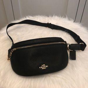 Coach black pebbled leather belt bag.